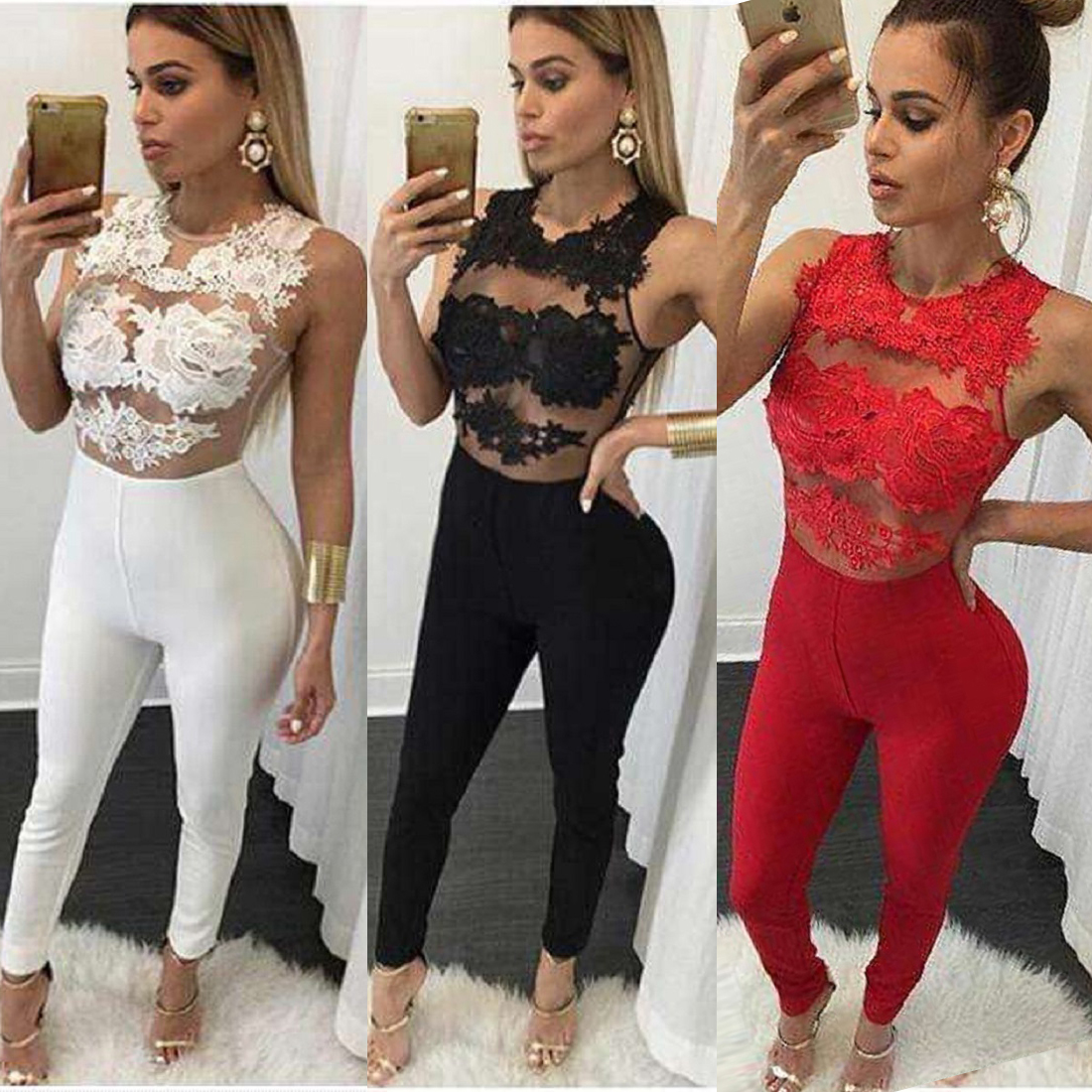 2020 Women Sexy Summer Lace Jumpsuit Romper Pants Hollow Out Bodycon Playsuit Party Ladies Evening Long Leg Pants Bodysuit