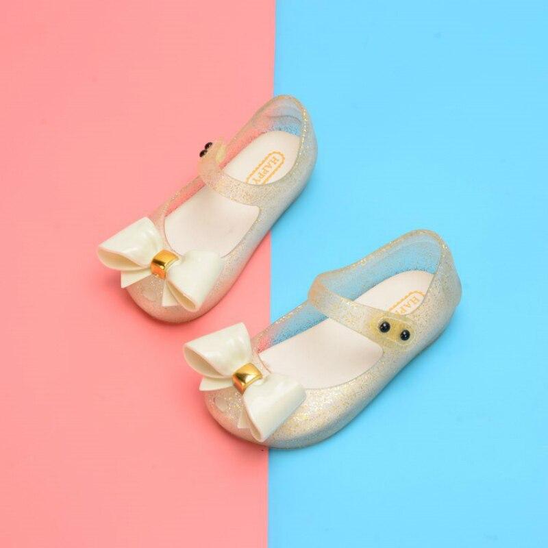 Прозрачные сандалии для девочек с бантом-бабочкой; Детские сандалии для малышей; Детская пляжная обувь; Нескользящая Мягкая Кожаная обувь н...