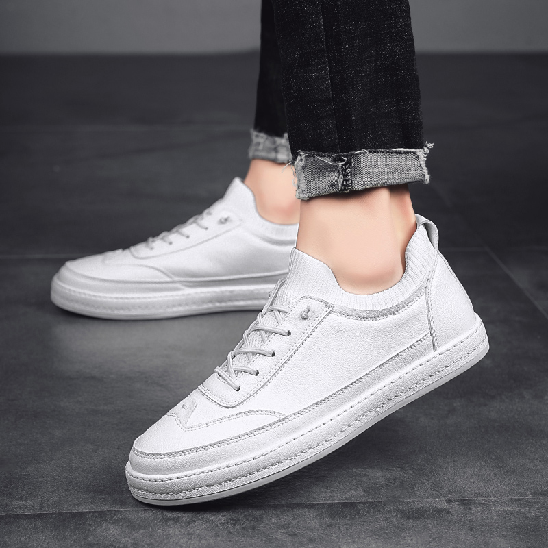 Men Sneakers Leather Shoes Men Black Genuine Leather Fashion Design Casual Luxury Brand Simple Sock Flats Black White 2019 New