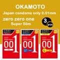 3 шт. Сделано в Японии OKAMOTO 001 презервативы полиуретана Magibox Sensation значение пенис рукав дополнительные смазкой секс-игрушки Для мужчин 0,01