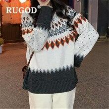 RUGOD moda jersey tejido con estampado de rueda de cielo para mujer contraste de color vintage cuello redondo manga larga Jersey suelto suéter de primavera
