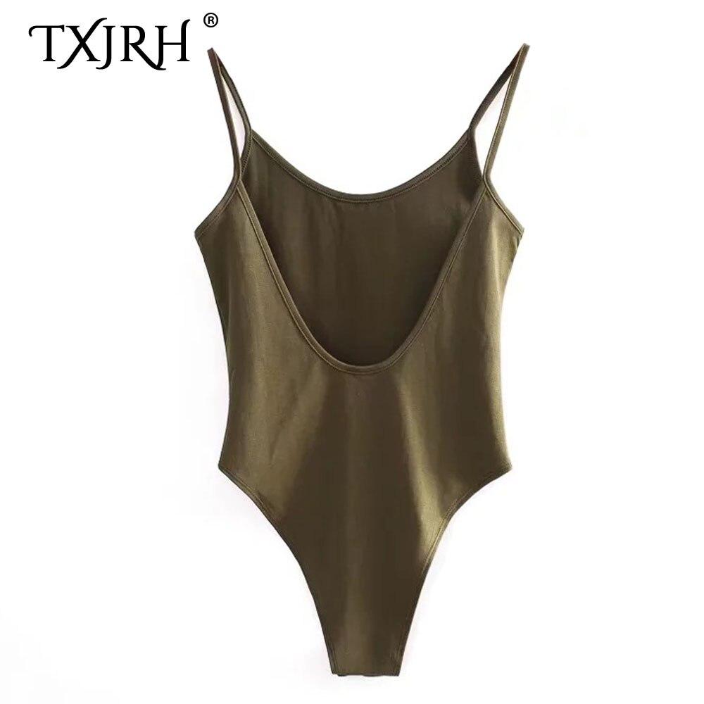 TXJRH Sexy Backless Fit Romper Body Siamese Bodysuit Slim Spaghetti Strap Skinny Tight Fashion Undershirt Playsuits 5 Colors