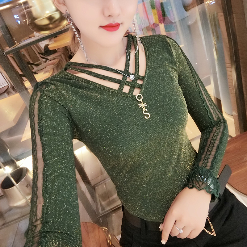 Autumn T-shirts Women Bottoming Shiny Bling Bling Lace Embroidery Patchwork Stretchy Tops Long Sleeve Camiseta Mujer T98894