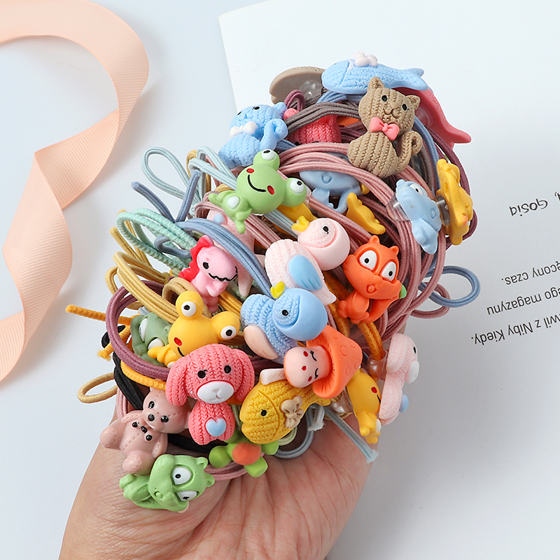 Cute Animal Hair Ring Cat Dog Rabbit Hair Bands Headwear Girl Rubber Band Elastic Hair Bands Korean Children Hair Accessories