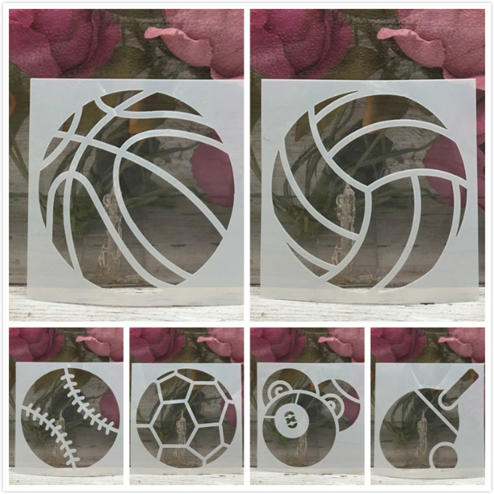6Pcs 10*10cm Sports Ball Basketball DIY Layering Stencils Wall Painting Scrapbook Coloring Embossing Album Decorative Template