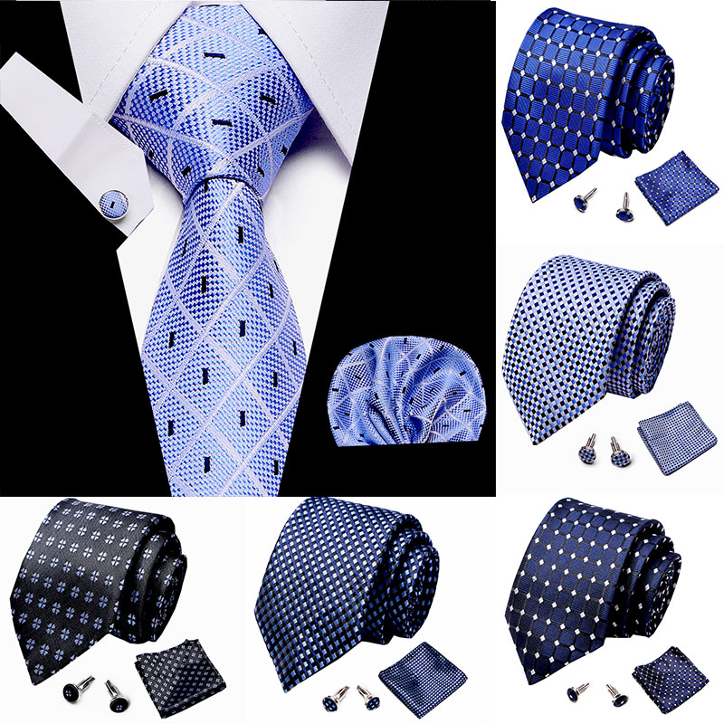 Mens Tie Skinny Blue Palid 100% Silk  Jacquard Woven Extra Long Tie Hanky Cufflink Set For Men Formal Wedding Party