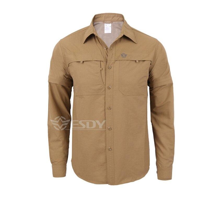 Мужская быстросохнущая рубашка на открытом воздухе Съемная с длинным/коротким рукавом дышащая походная Военная Маскировочная рубашка Спортивная одежда - Цвет: khaki