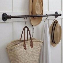 4 размера Ретро вешалка для полотенец для ванной комнаты промышленная железная труба черный железный держатель для полотенец подвесные полки с 8 шт. винтами
