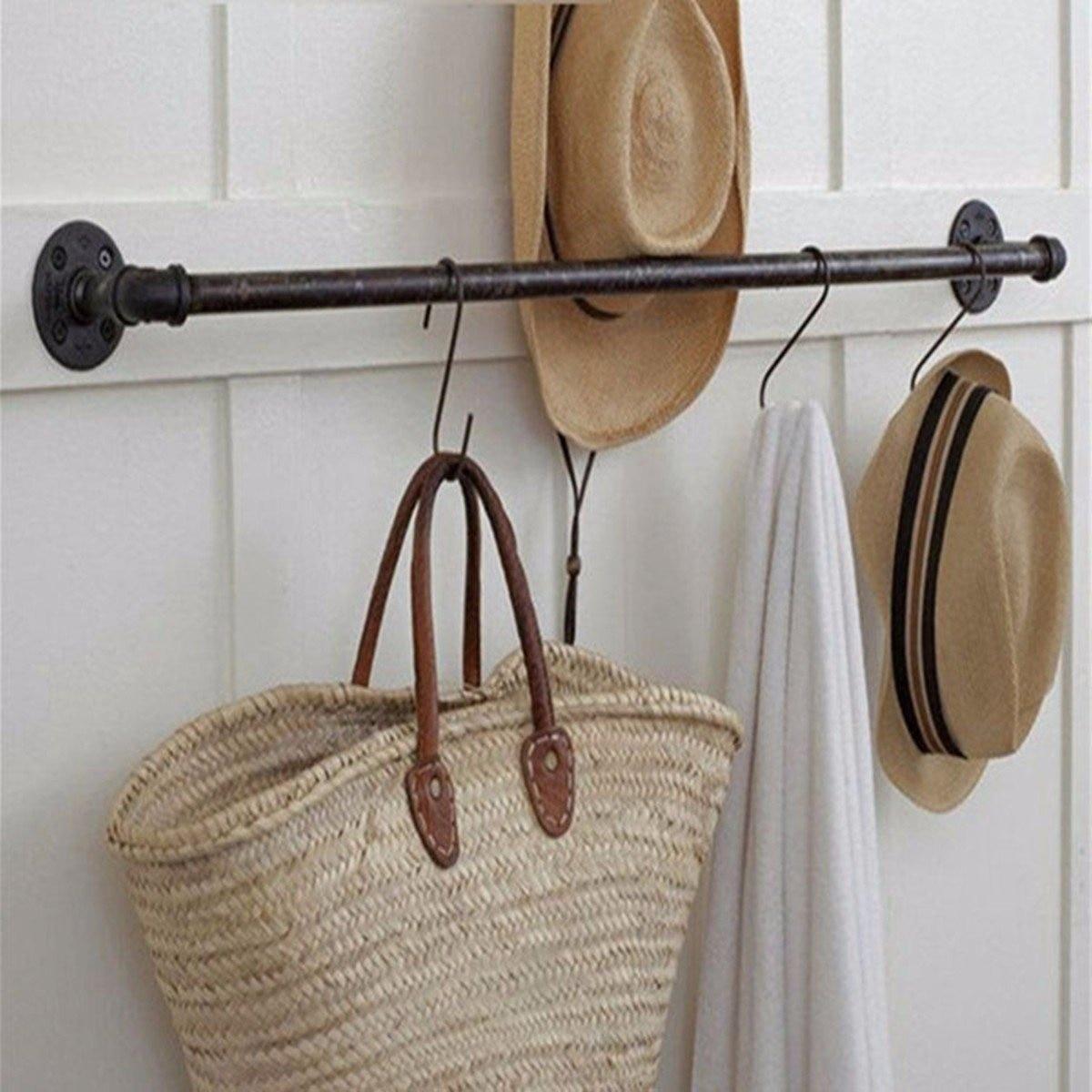 4 Sizes Retro Towel Rail Rack Shower Bathroom Industrial Iron Pipe Black Iron Towel Rail Holder Hanging Shelves With 8pcs Screws