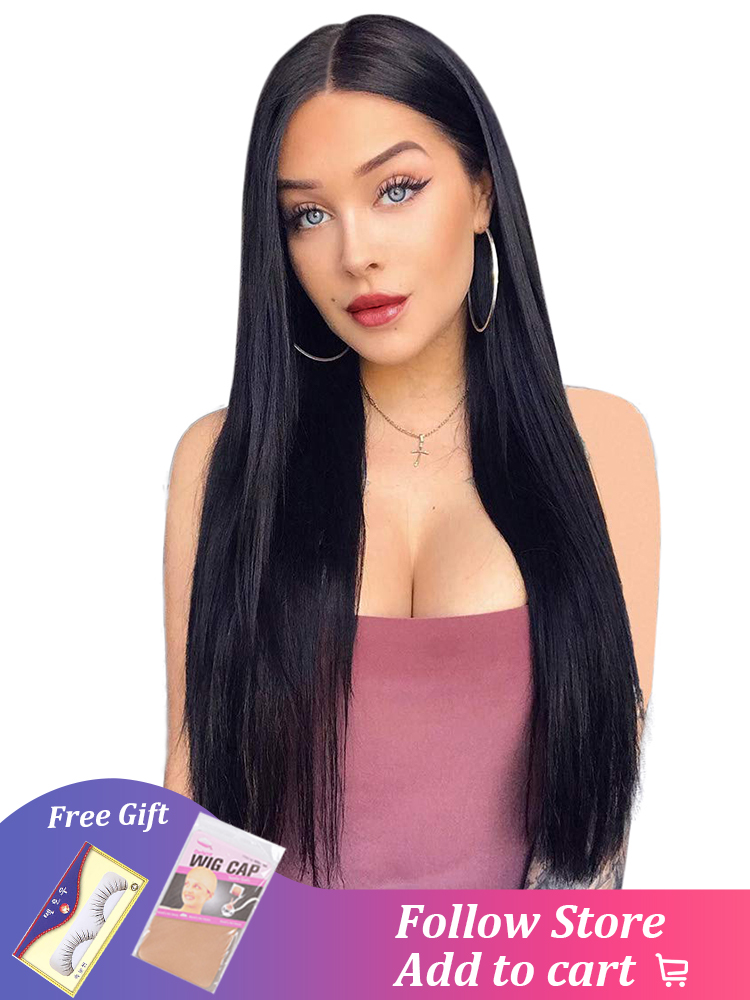 Black Wig Looking-Wig Synthetic-Wigs Aisi-Hair Heat-Resistant-Fiber Middle-Part Natural