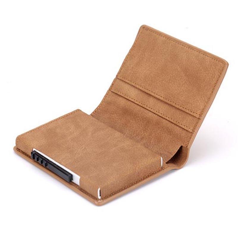 NEW Anti-Rfid Protection Men Women Credit Card Holder Pu Leather Fashion Slim Mini Wallet Aluminum Business Id Card Case
