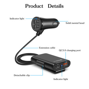 Image 2 - NOHON QC 3.0 Front and Rear Car Charger For iPhone 11 Pro Max Mobile Phone Charge in Car For Xiaomi Samsung with Extension Cable