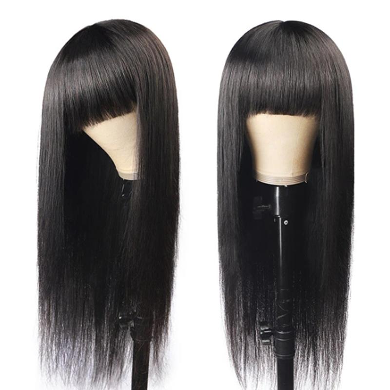 Brazilian Straight Human Hair Wigs With Bangs SOKU Body Wave Wigs For Black Women Non Lace Full Machine Made Human Hair Wig