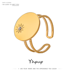 Yhpup déclaration étoile du nord strass anneau d'ouverture pour les femmes en acier inoxydable plaqué or cuivre bague de mariage bijoux