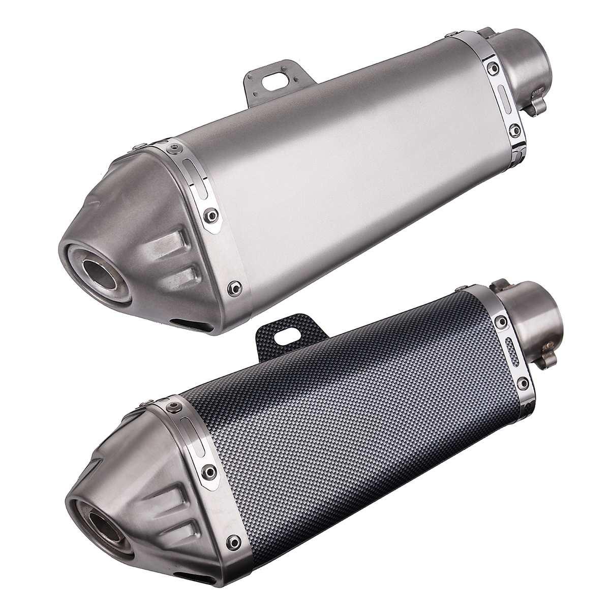 Universal 38-51mm Motorcycle Chrome Fiber Exhaust Muffler w// Silencer Dirt Bike