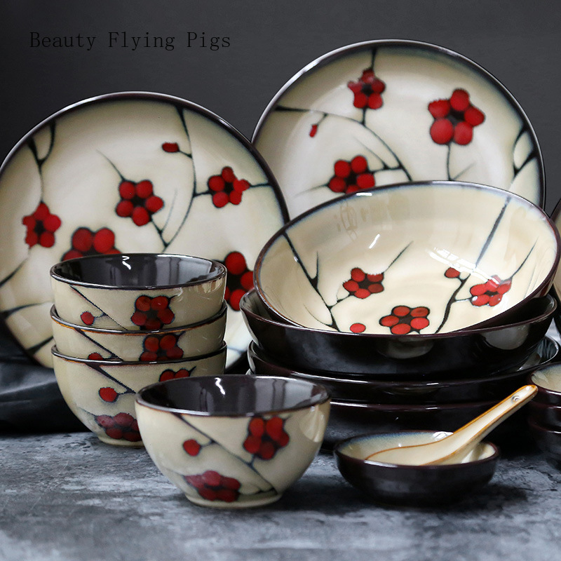Japanese Style Flower Ceramic Household Tableware Dish Plate Ceramic Deep Dish Soup Bowl Rice Bowl Small Tune Taste Dish