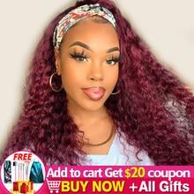 Peluca con diadema de cabello humano rizado 99J para mujeres negras peluca y bufanda brasileña Ombre 4 27 pelucas de cabello humano rizado Remy sin pegamento