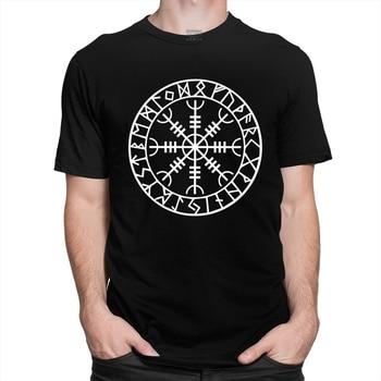 Norse Viking Rune Amulet Men T Shirt Cotton Icelandic Vegvisir Compass Tee Tops Short Sleeved Fashion Odin Warrior Legend Tshirt 2