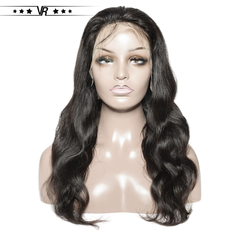 Lace Front Human Hair Wigs 130% Density Body Wave Natural Black Color Star Quality