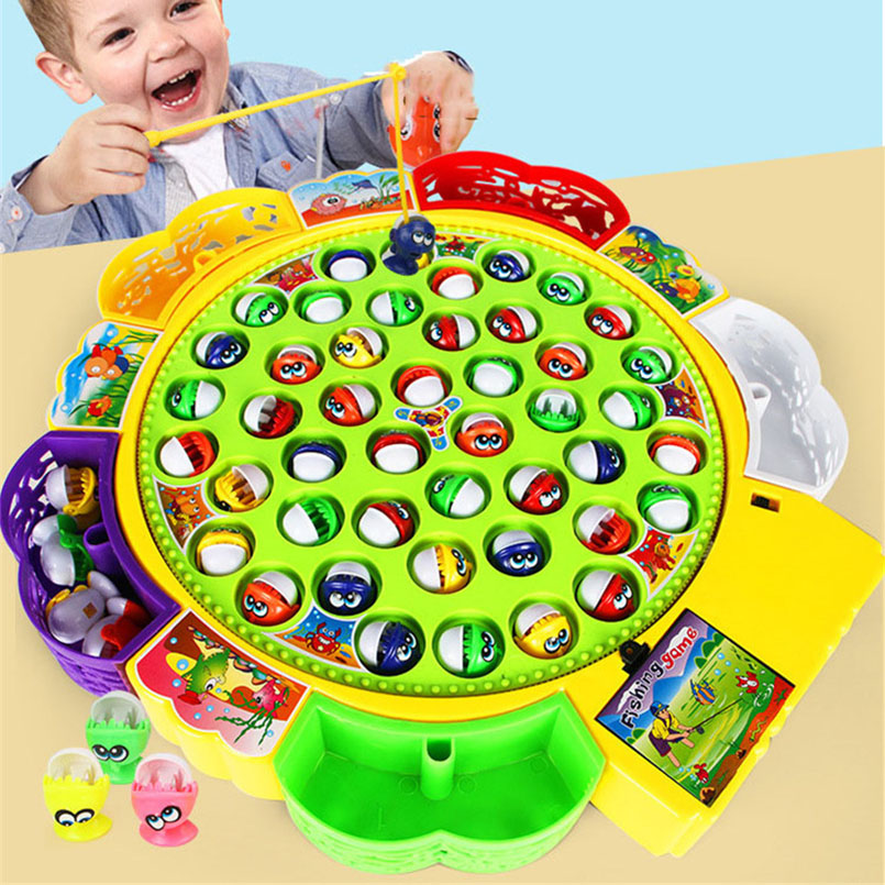 Electric Musical Rotating Fishing Toy Children Board Play Fish Game Magnetic Fish Outdoor Sports Educational Toys For Boys Girls