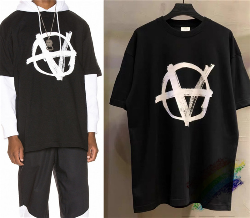 2020ss Embroidery Oversize Loose Vetements T Shirts Women Men 1:1 Best Quality Top Tees Vetements T Shirt