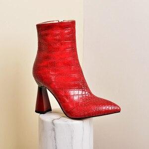 Image 5 - MORAZORA 2020 למעלה איכות נשים מגפי קרסול הבוהן מחודדת סתיו חורף צ לסי קצר מגפי עקבים גבוהים מסיבת חתונה נעלי אישה