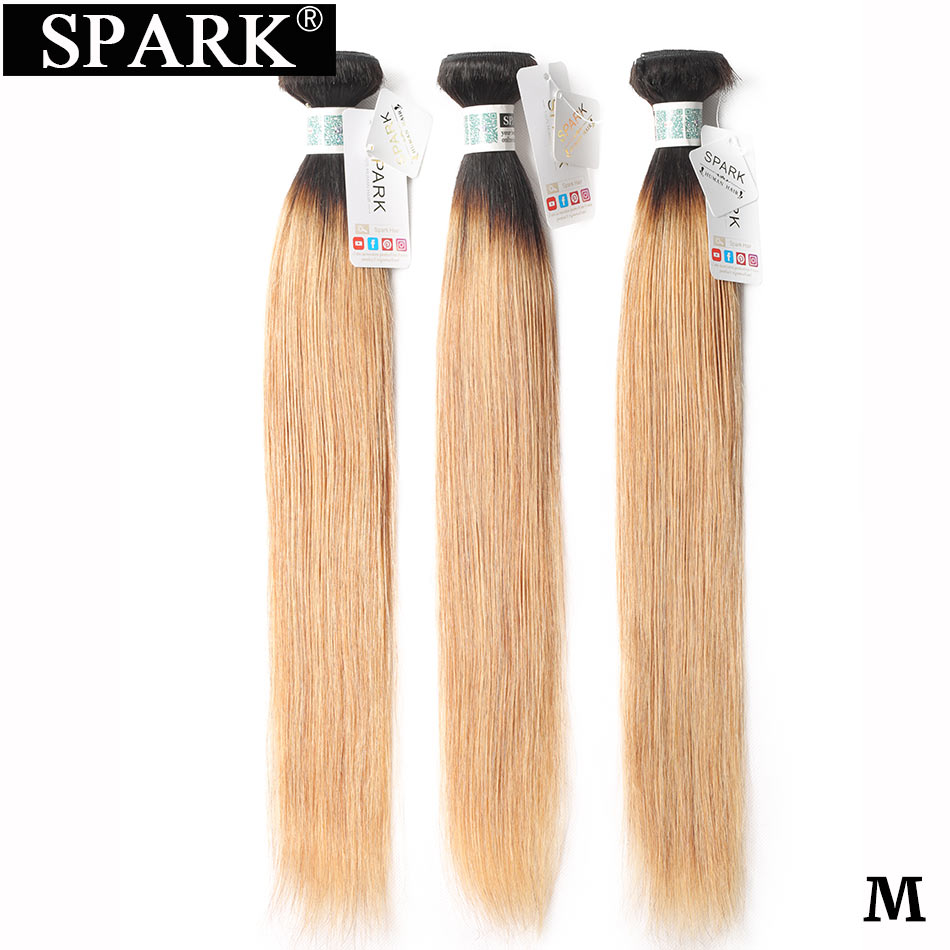 Spark Straight Hair Human Hair Brazilian Hair Weave Bundles 3/4 PCS  T1B/27 Ombre Color Remy Human Hair Extensions Medium Ratio