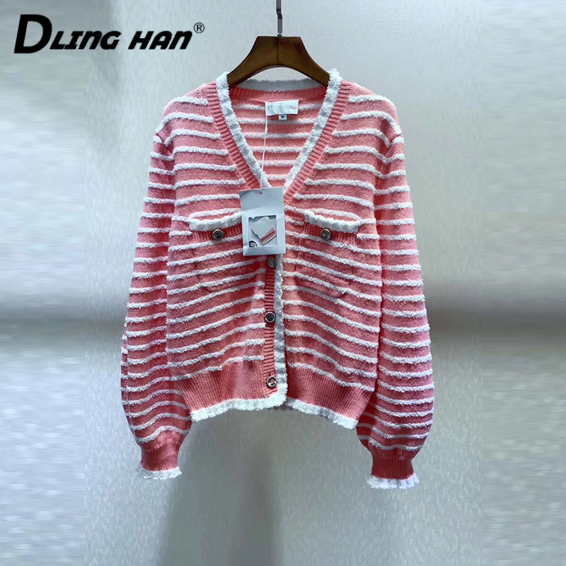 LINGHAN Fashion Hit Color Striped Cardigans Button V-NeckLantern Sleeve Knitting Sweater Coat Designer Women's Spring New