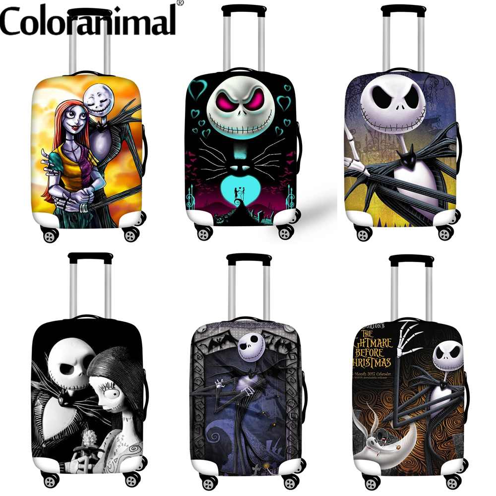 Coloranimal 2020 Luggage Protective Covers The Nightmare Before Christmas Suitcase Cover Travel Organizer Size 18-32 Inch