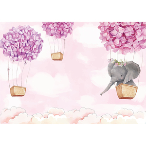 Image 3 - Funnytree hot air balloon elephant first birthday party background childrens photozone backdrop baby shower baptism party Decor