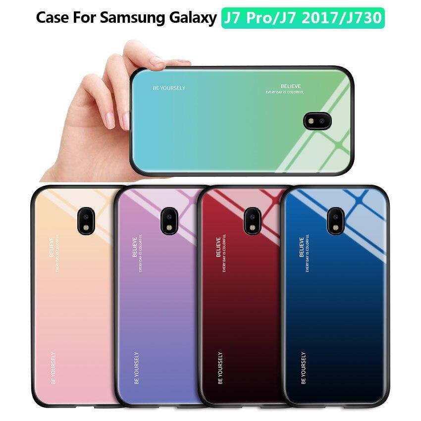 Für Samsung Galaxy J7 Pro J7 2017 J730 Luxus Aurora Regenbogen Gehäuse Gradienten Serie Fall Stoßfest Gehärtetem Glas Zurück Abdeckung