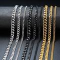 Vnox Grundlegende Punk Edelstahl Halskette für Männer Frauen Curb Cuban Link Kette Colliers Vintage Schwarz Gold Ton Solide Metall