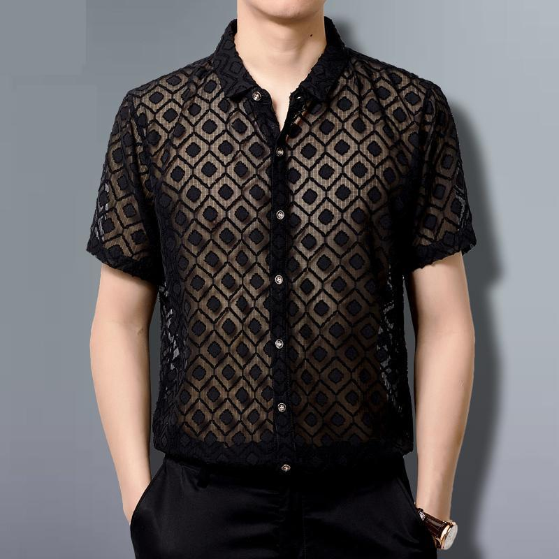 Lace Shirts Mens Transparent Clothing Mens See Through Sexy Mens Mesh Shirts For Big Breasts Black Chiffon Party Club Outfits