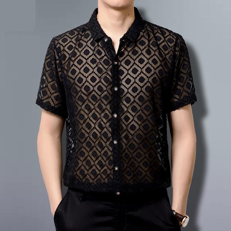 Lace Shirts Mens Transparent Clothing Mens See Through Sexy Mens Mesh Shirts For Big Breasts Black Chiffon Party Club Outfits