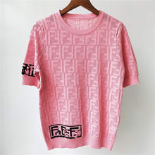 2021 New Luxury Brand Tops Ladies High Quality Fashion Casual Letter Embroidery Tees Women Wool Knitting Summer T-Shirt Female