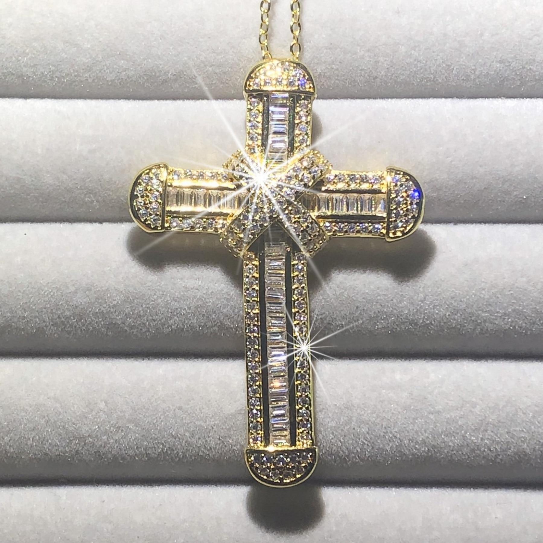 New 925 Silver Exquisite Bible Jesus Cross Pendant Necklace Women Men Crucifix Charm Simulated Diamond 14K Gold Jewelry