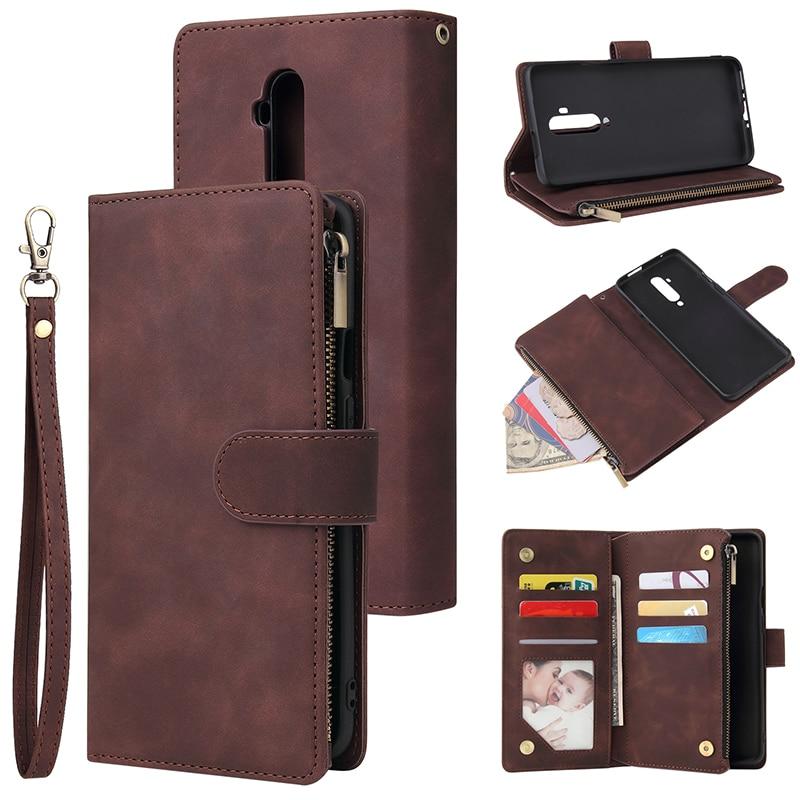 For Oneplus 7T Pro Case Zipper Wallet Retro Leather Phone Case For Oneplus 7T 7 Pro One Plus Seven Case Flip Cover Magnetic Case