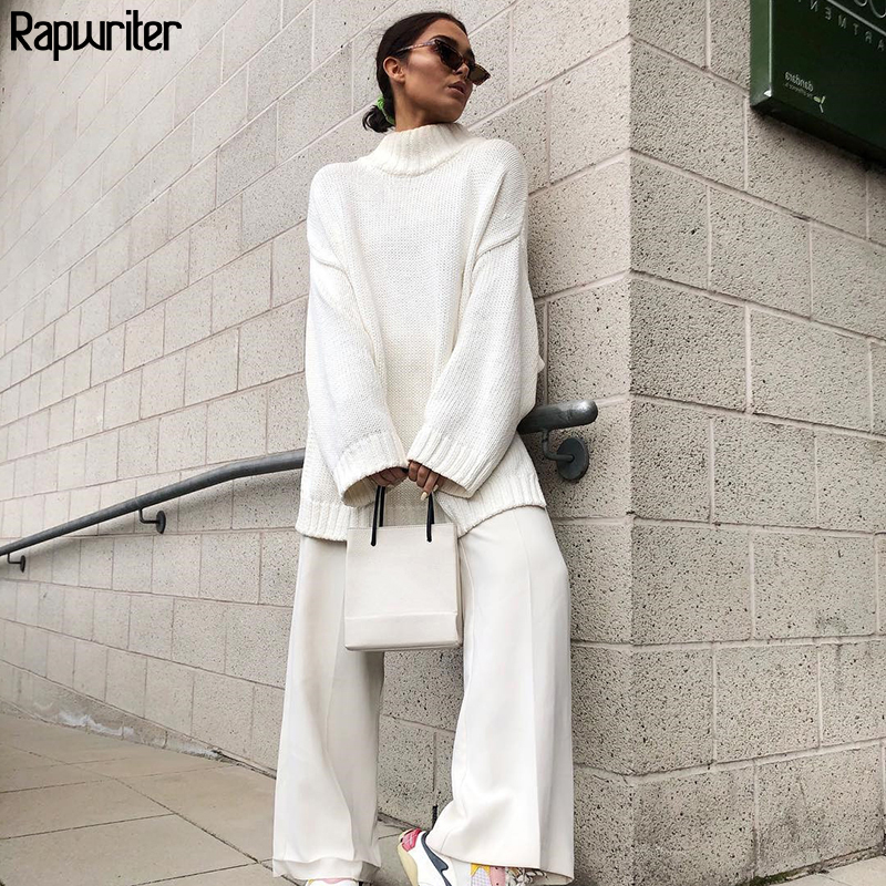 Rapwriter New 2019 Women's Autumn Winter Knitted Long Sweaters Women Oversize Pullover Turtleneck Solid Minimalist Loose Tops