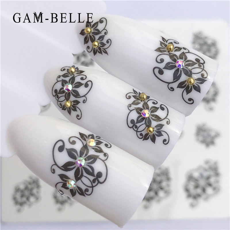 GAM-BELLE 1pcs 5 Types Nail Art Black Decal Water Transfer Sticker DIY Flower Rose Slider Wraps Nail Paper Decoration Manicure