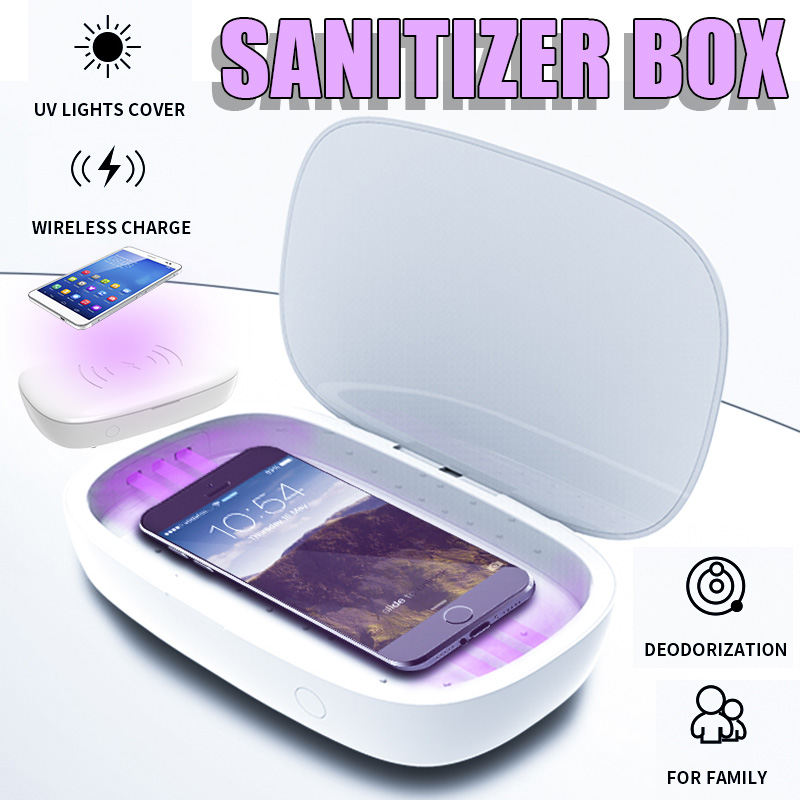 Portable <font><b>UV</b></font> Sterilizer Lamp <font><b>Box</b></font> Phone Mask Cleaner Personal Sanitizer Disinfection Cabinet Mobile Phone Wireless Charger image