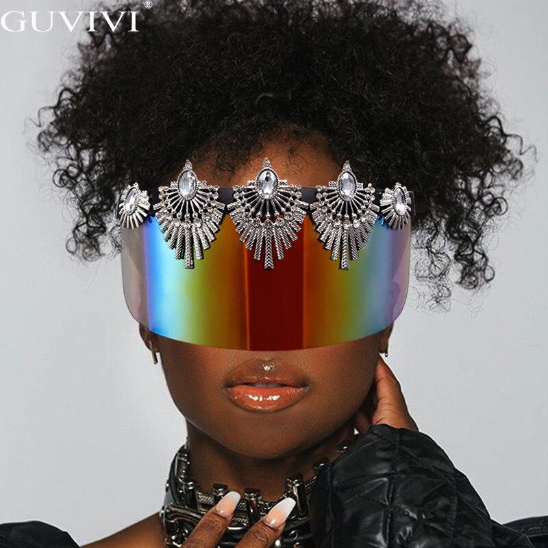 Gafas de sol de marca de lujo para mujer, gafas de sol con diamantes de una pieza 2020, gafas de sol con diamantes de imitación para hombre, gafas sobredimensionadas con espejo