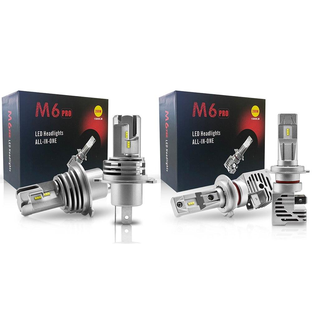 Одна пара автомобиля светодиодный фар H4 H7 50 Вт 6000LM высокого ближнего света Противотуманные лампы 6000 К 12 В зэс