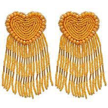 ROYALBEIER Bohemian LOVE Heart Beaded Drop Earrings Long Tassel Earrings Pendant Charm Statement Jewelry Earrings bohemian beaded tassel drop earrings