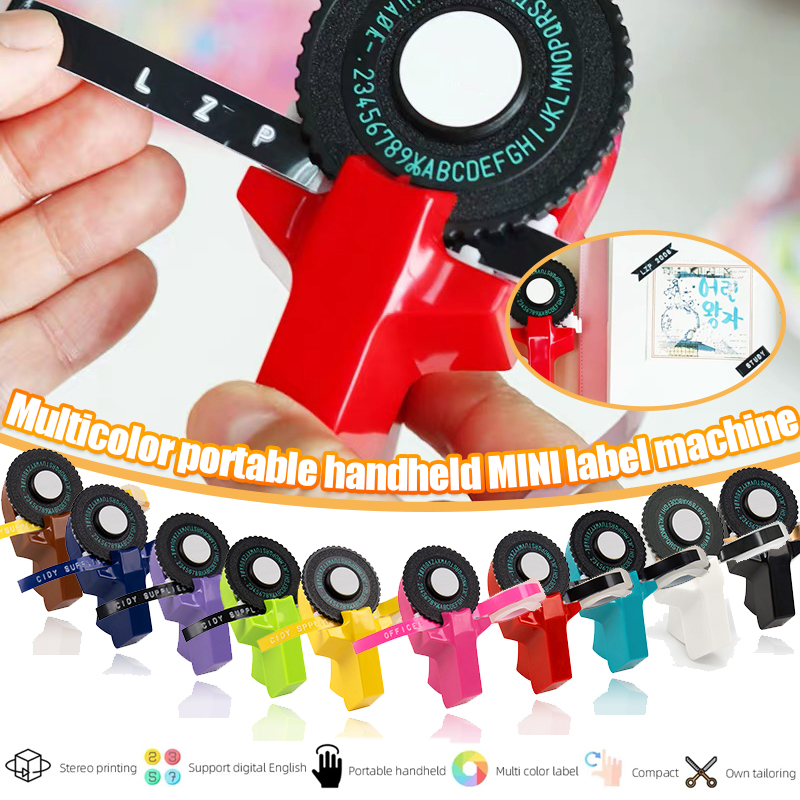 Label Maker Machine Multicolor DIY Handhold 3D Embossing Manual Labeller Label Tapes Printer Replace Typewriter Home use 9mmE101