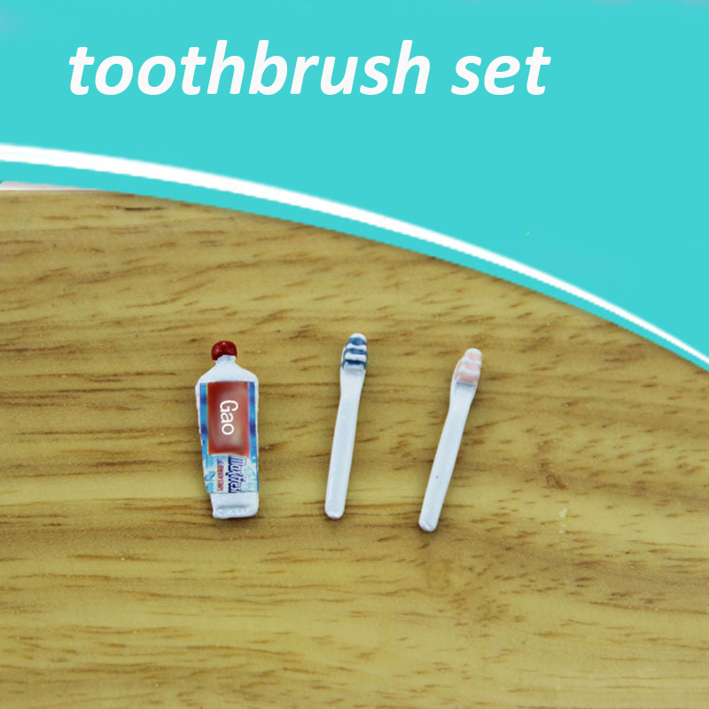 Mini Toothpaste 1:12 Scale Dollhouse Miniature Living Room Table Accessories DIY Doll House Accessories Kit Toothbrush For Dolls
