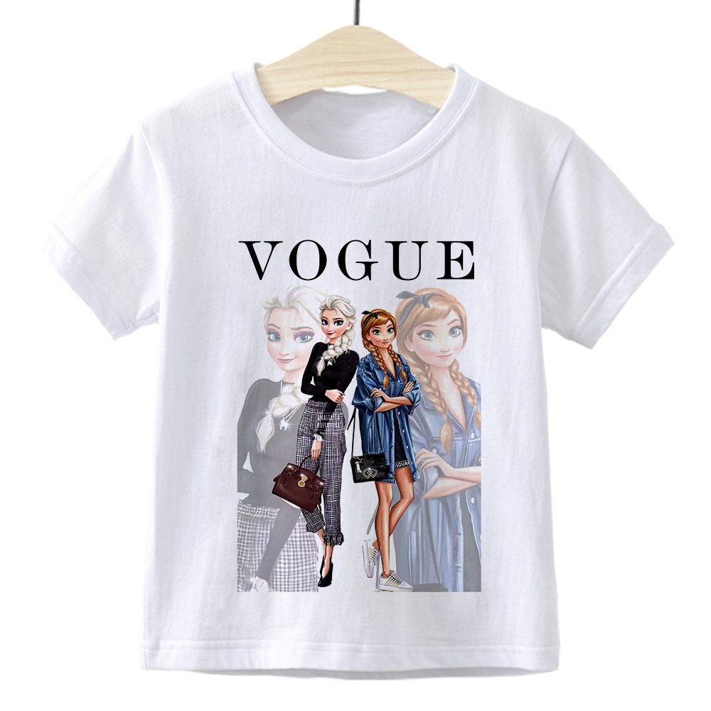 Elsa Queen Anna Princess VOGUE Children T-shirt Gym Harajuku Loose Fashion Kids Tshirt Cute Beautiful Vintage Baby Girl Clothes