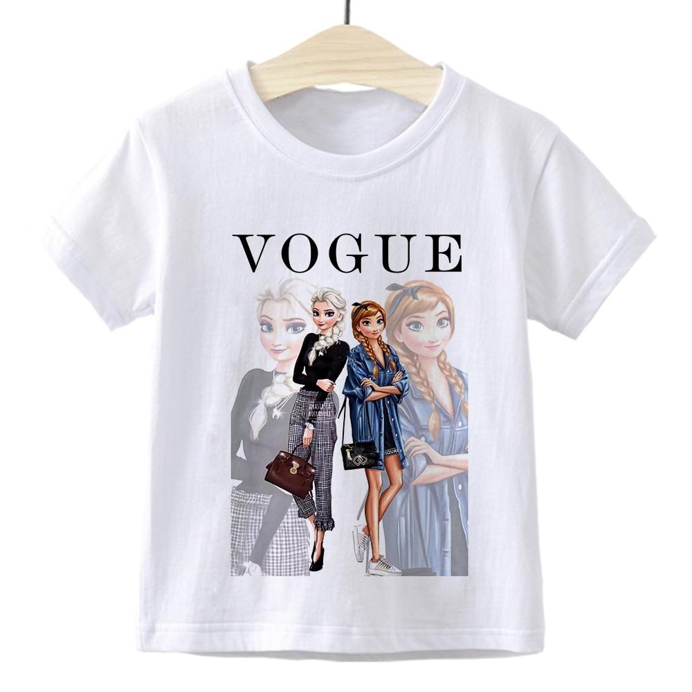 Elsa Queen Anna Princess VOGUE Children T-shirt Gym Harajuku Loose Fashion Kids Tshirt Cute Beautiful Vintage Baby Girl Clothes