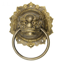 Pure copper beast head door knocker handle handicrafts Ming and qing antique furniture Chinese style tiger brass