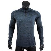 Esportes dos homens t-camisa esportiva de manga longa correndo ginásio roupas de fitness camisa de compressão zip pulôver caminhadas rashguard w42