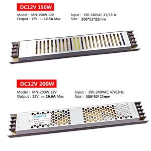 Image 5 - אולטרה דק LED אספקת חשמל DC 12V 24V 60W 100W 150W 200W 300W שנאי תאורת AC 190 240V LED נהג LED רצועת מעבדה
